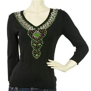 Toupy Black Wool Knit Long Sleeves Beaded Blouse Top