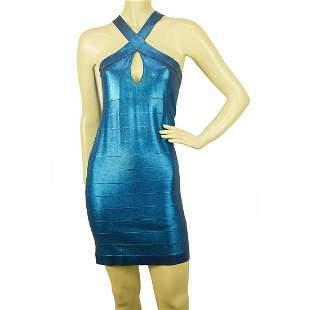 PINKO Blue Stretch Bodycon Mini Length Viscose Elastan