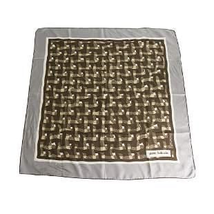 Pierre Balmain Gray Brown Geometric Print Silk Square