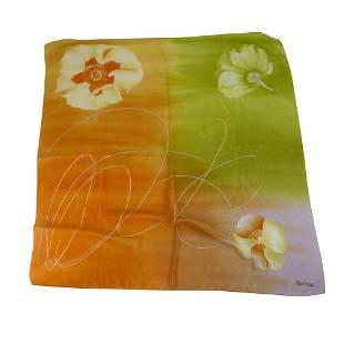 Max Praga Green & Orange Floral Flowers Silk Scarf