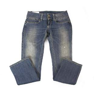 Dondup Blue Distressed Denim Cropped Trousers Pants