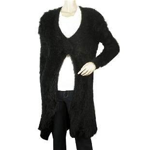 Twin Set Simona Barbieri Black Hairy Knit Long Cardigan