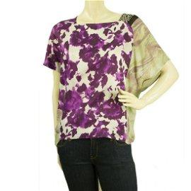 Dries Van Noten Floral Purple 100% Silk Loose Fit