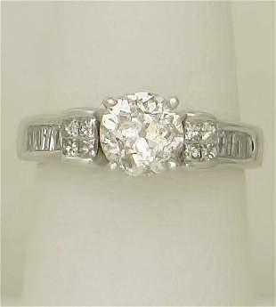 1 3/4ct DIAMOND ROUND EUROPEAN CUT VINTAGE ENGAGEMENT