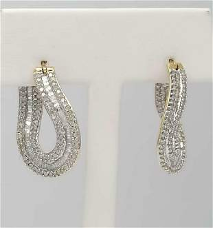 10k YELLOW GOLD 2.00ct ROUND BAGUETTE DIAMOND CHANNEL
