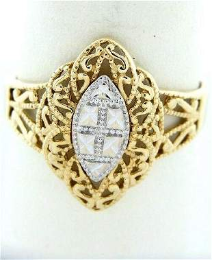 14K TWO TONE GOLD VINTAGE FILIGREE DIAMOND CUT RING