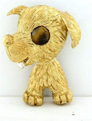 "18K YELLOW GOLD TIGERS EYE PUPPY DOG PIN BROOCH 1.26"""