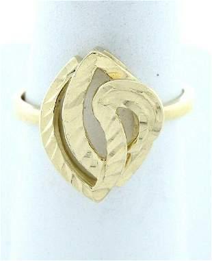 LADIES 14K YELLOW GOLD CUSTOM DIAMOND CUT SWIRL RING
