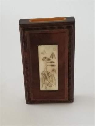 Rosewood Snuff Box with Bone Inlay - Qing Dynasty