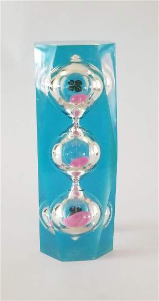 Lucite Hourglass Sculpture Style of Charles Hollis