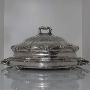 Old Sheffield Plate Meat Dish & Cover Circa 1830