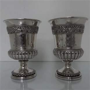 Pair of George III Sterling Silver Wine Goblets London