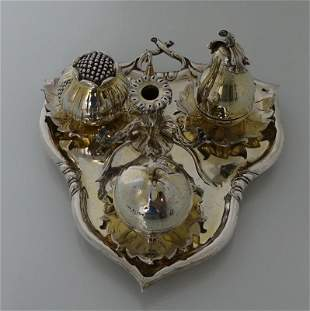 Sterling Silver Gilt Victorian Inkstand London 1847