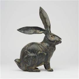 Patinated Bunny Sculpture - Bronze
