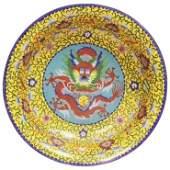 Antique Chinese Dragon Cloisonné Bowl .