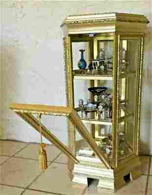 Vintage Vitrine Six-Sided Gilt Wood Display Case with