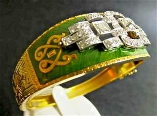 Antique Green Enamel and Diamond Bracelet