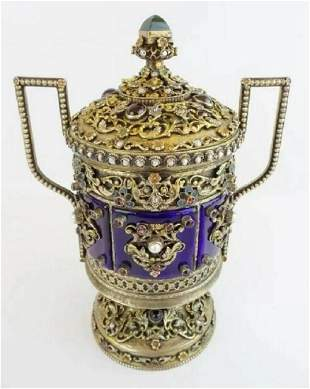 Antique Jeweled Enamel Covered Silver Double Handle Urn