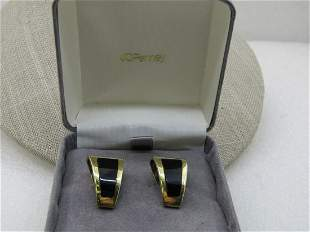 Vintage 14kt Inlaid Onyx Clip Earrings, Signed, 10.90