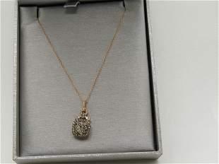 14kt Effy Rose Gold Cognac & White Diamond Necklace,