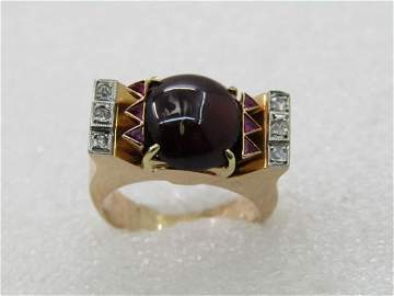 Vintage 14kt Tourmaline, Ruby, Diamond Ring,