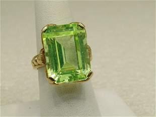 Vintage 10kt 23.25 CTW Peridot Ring, Sz. 8. Statement