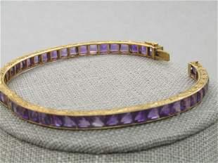 """Antique 18kt Amethyst Hinged Bracelet, 6.75"""", Appz."""