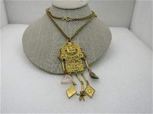 Vintage Egyptian/Ethnic Themed Necklace, Stone Dangles