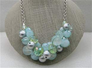 """Vintage Baby Blue & Green Necklace, Cluster Beaded, 18"""""""