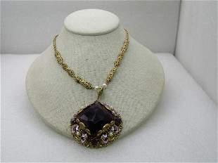 Vintage Large Purple Filigre Necklace, Enameled, Faux