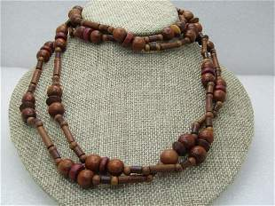 """Vintage Tribal Wooden Beaded Necklace, 64"""",1960's,"""