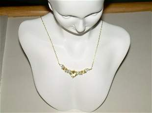 Sterling Genuine Citrine Bib Necklace With CZ Accent,
