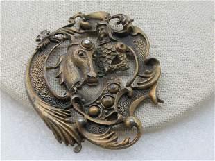Vintage Brass Knight on Horse Framed Brooch, Medieval