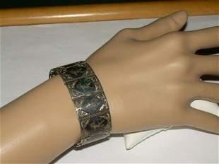 """Vintage Sterling Siam Bracelet, 6 1/4"""" x 7/8"""", 30.8gr."""