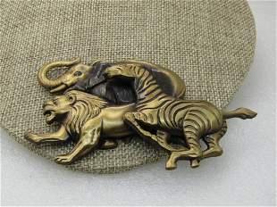 """Vintage Safari Animal Stampede Brooch, 4.25"""" by 2"""","""