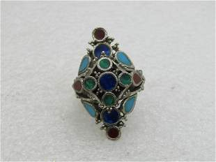 Vintage Enameled Inlaid Adjustable Ring,