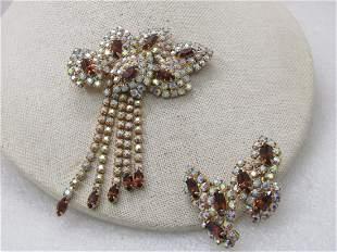 Vintage Art Deco Rhinestone Brooch & Earrings Set, Clip
