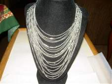 Vintage Silvertone Necklace With 18 Dangling Strands -