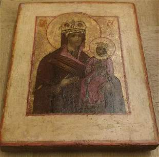 ANTIQUE RARE 19c HAND PAINTED RUSSIAN ICON