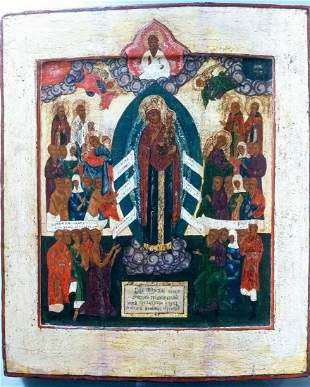ANTIQUE HAND PAINTED RUSSIAN 18C ICON MOTHER OF GOD OF
