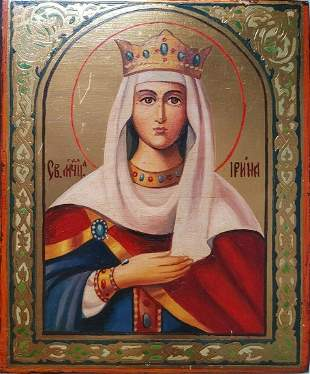 RUSSIAN HAND-PAINTED ICON OF THE ST. IRINA