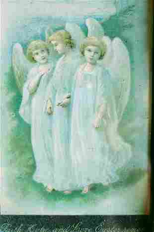 COLOR PRINT OF THREE ANGEL, GLAZED AND FRAMED