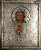 ANTIQUE 19c SILVER 84 HAND PAINTED RUSSIAN ICON MOTHER
