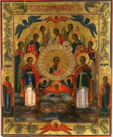 ANTIQUE ORTHODOX 19c RUSSIAN ICON OF The Sleepless Eye