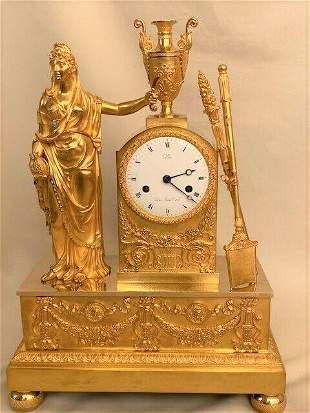 Antique French Empire Gilt Bronze clock of the goddess