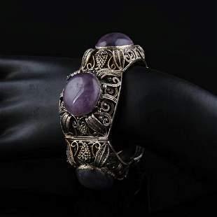 1949 Chinese Sterling Silver Amethyst Bracelet
