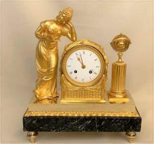 Antique Empire Gilt Bronze Clock La Lectura around 1810