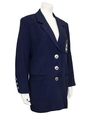 Christian Dior Navy Blue Blazer with Crest