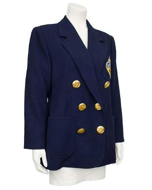 Christian Lacroix Navy Blue Double Breasted Blazer with