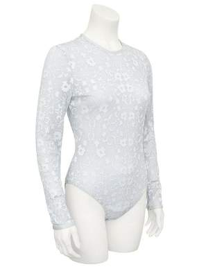 Versace Silver Lurex Lace Bodysuit